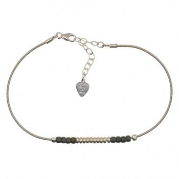 Bracelet PERLES & RONDELLES sur Corde de Guitare argentée...