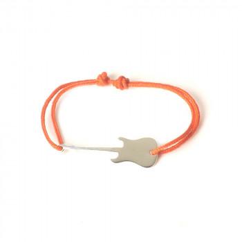 Bracelet GUITARE LISSE Argent 925 sur cordon pour homme